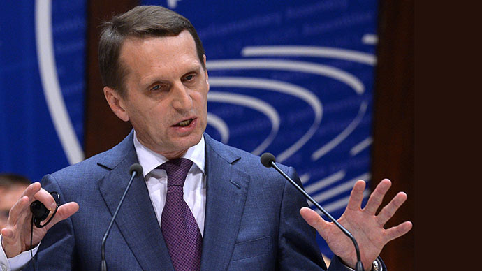 Duma Speaker Sergei Naryshkin speaking at the plenary meeting of the Parliamentary Assembly of the Council of Europe on October 1, 2013 (RIA Novosti / Vladimir Fedorenko)