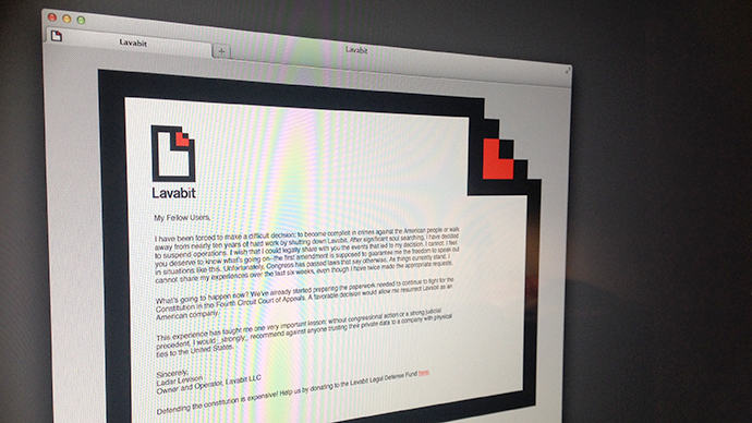 A screenshot from lavabit.com
