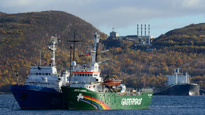 "Greenpeace ship ""Arctic Sunrise"" is seen anchored outside the Arctic port city of Murmansk September 24, 2013. (Reuters / Stringer)"