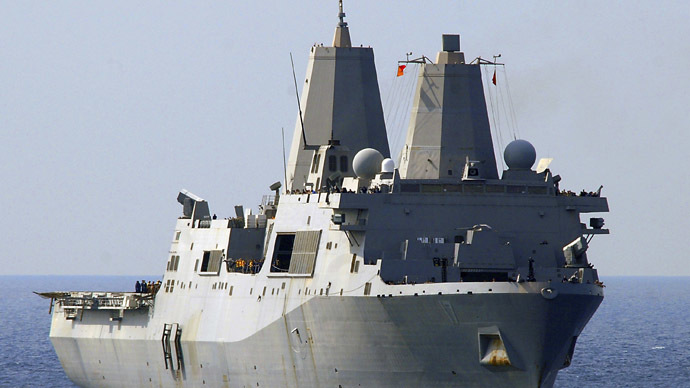 The amphibious transport dock ship USS San Antonio where terrorist suspect Abu Anas el-Liby is being held for interrogation.  (Reuters/US Navy)