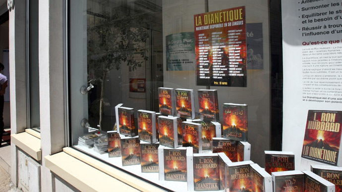 "Photo taken on May 24, 2009 shows books in the window of Paris's scientology ""Celebrity Centre"", in Legendre street. (AFP Photo/Joel Saget)"