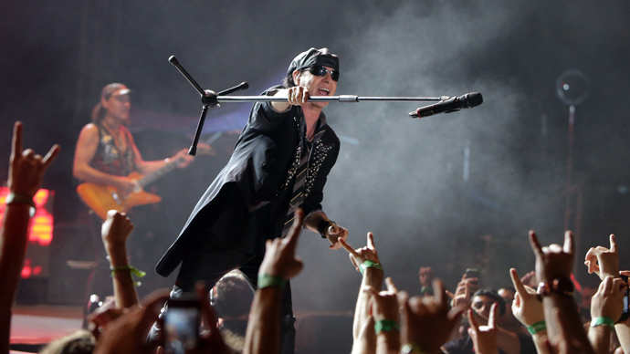 Klaus Meine, lead vocalist of the heavy metal band Scorpions performs on stage (AFP Photo / Joseph Eid)