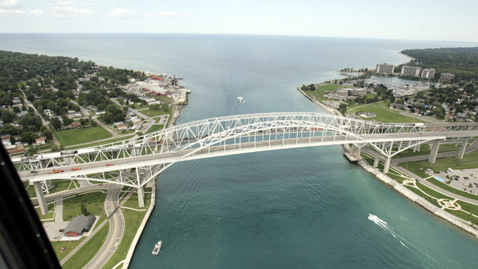 The Bluewater bridge is seen, joining the U.S (L) and Sarnia, Canada, from a U.S. Customs and Border Protection Blackhawk helicopter in Port Huron, Michigan (Reuters)