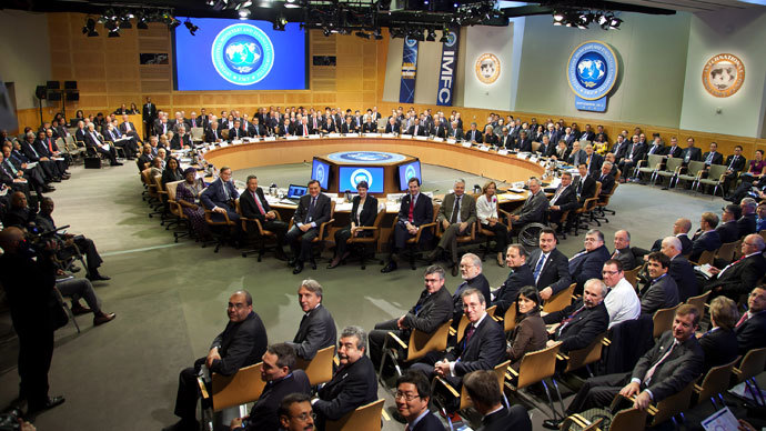 In this image released by the International Monetary Fund, IMFC members pose for a group photograph at the International Monetary Fund Headquarters in Washington, DC.(AFP Photo / Stephen Jaffe)