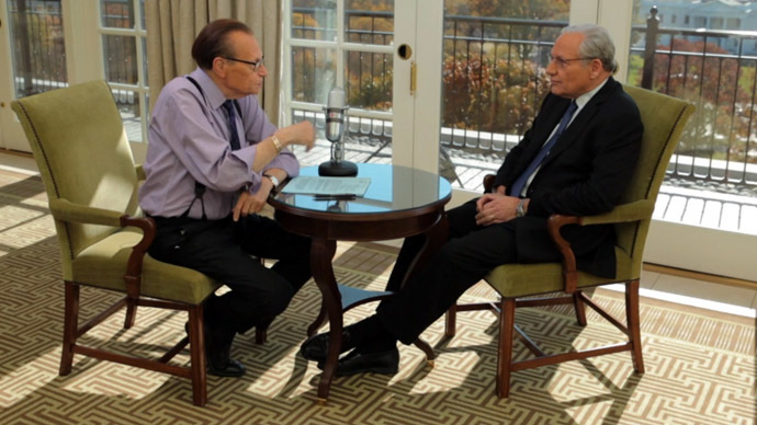 Larry King and Bob Woodward (Still from RT video)