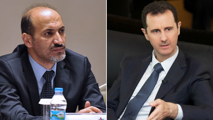Syrian National Council (SNC) Ahmad Jarba, Syrian president Bashar al-Assad.(AFP Photo / Ozan Kose /SANA)