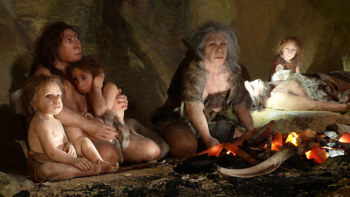 An exhibit shows the life of a neanderthal family in a cave in the new Neanderthal Museum in the northern town of Krapina.(Reuters / Nikola Solic)