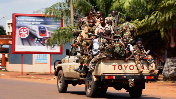 Seleka soldiers drive on a street during fighting in Bangui, Central African Republic, December 5, 2013.(Reuters / Emmanuel Braun)