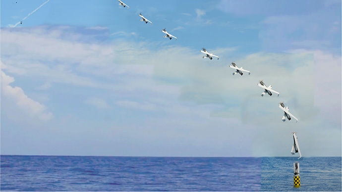 Time-lapse photography shows the launch of a drone from the submerged submarine USS Providence. (Photo: NAVSEA-AUTEC)