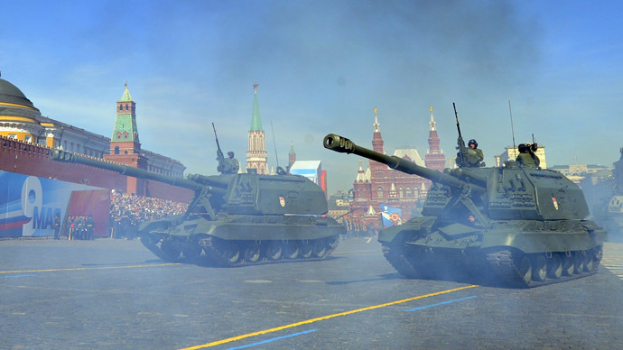 A column of Russia's Msta-S self-propelled howitzers rolls at the Red Square in Moscow, on May 9, 2013, during Victory Day parade. (AFP Photo/Yuri Kabodnov)