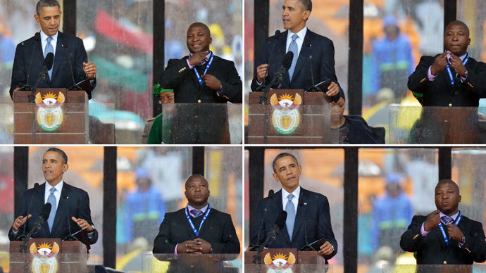 President Barack Obama delivers a speech next to a sign language interpreter (R) during the memorial service for late South African President Nelson Mandela at Soccer City Stadium in Johannesburg.(AFP Photo / Alexander Joe)