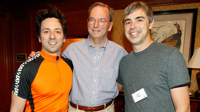 Google Chairman and CEO Eric Schmidt (C) poses with co-founders Sergey Brin (L) and Larry Page at the Sun Valley Inn in Sun Valley, Idaho.(Reuters / Mario Anzuoni)