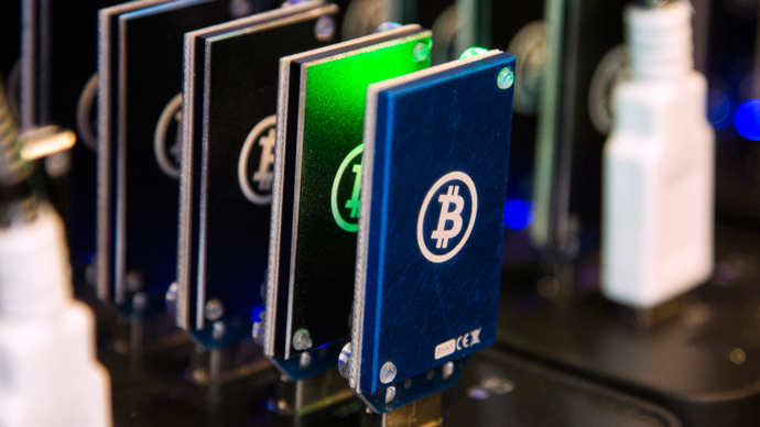 A chain of block erupters used for Bitcoin mining is pictured at the Plug and Play Tech Center in Sunnyvale, California (Reuters)