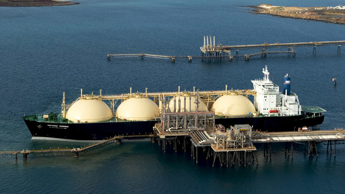 A handout photo obtained on July 18, 2012 shows Woodside Energy Ltd's LNG (liquefied natural gas) tanker at the Karratha gas plant loading terminal in the north of Western Australia. (AFP Photo)