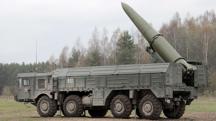 Iskander high-precision missile system in place during military exercises. (RIA Novosti/Alexei Danichev)