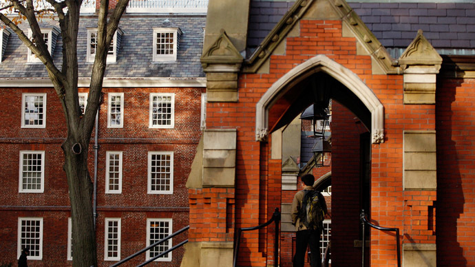 A student stands in the entranceway of a building at Harvard University in Cambridge, Massachusetts (Reuters/Jessica Rinaldi)