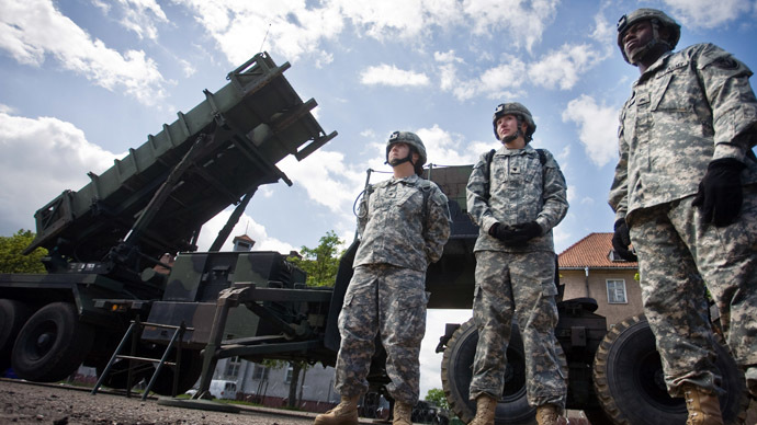US soldiers stand in front of a Patriot missile battery at an army base in the northern Polish town of Morag. (AFP Photo/Wojtek Radwanski)