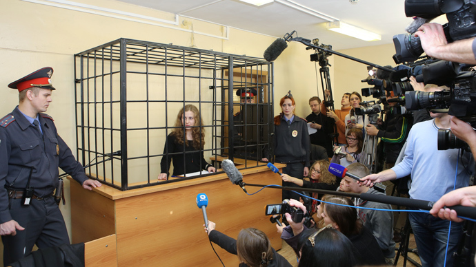 Pussy Riot punk band member Maria Alyokhina, serving two years for a 'punk prayer' at the Cathedral of Christ the Savior, at the Avtozavodsky District Court in Nizhny Novgorod hearing her motion to mitigate penalty (RIA Novosti / Oleg Zoloto)