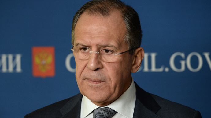 Russian Foreign Minister Sergey Lavrov talks to journalists after a meeting of the Federation Council (RIA Novosti / Maksim Blinov)