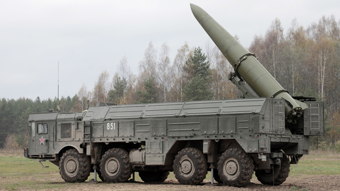 Iskander high-precision missile system in place during military exercises. (RIA Novosti / Alexei Danichev)