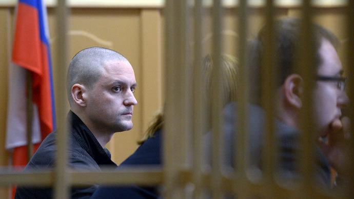 Left Front coordinator Sergei Udaltsov at Moscow's Basmanny Court.(RIA Novosti / Evgeny Biyatov)
