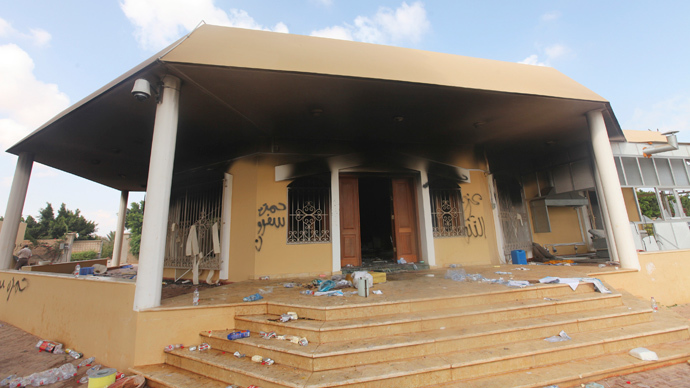 An exterior view of the U.S. consulate, which was attacked and set on fire by gunmen yesterday, in Benghazi September 12, 2012. (Reuters / Esam Al-Fetori)