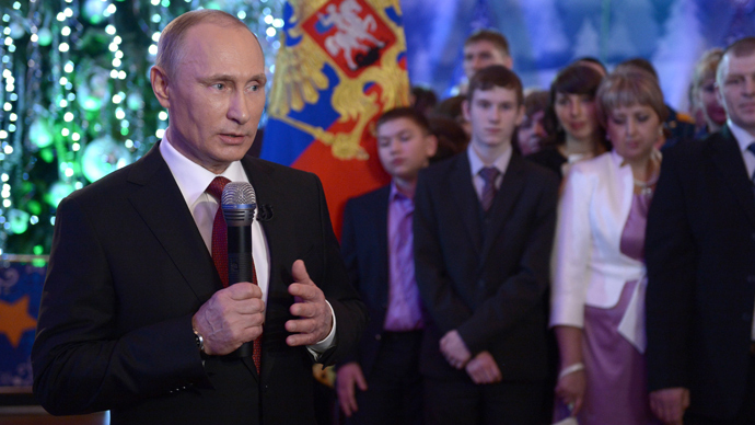 Russian President Vladimir Putin in Khabarovsk addresses the nation, 31 December 2013 (RIA Novosti / Aleksey Nikolsky)