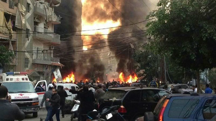 Fire and smoke is seen at the site of an explosion in Beirut's southern suburbs January 2, 2014.(Reuters / Jamal Sahili)
