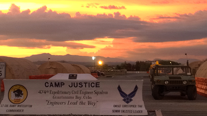 The entrancer to Camp Justice at the Guantanamo Bay Naval Base is seen in Guantanamo Bay, Cuba. (AFP Photo / Chantal Valery)