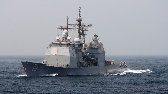 USS Chancellorsville.(AFP Photo / Alexander Tidd)