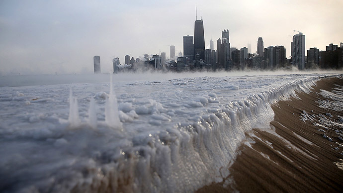 Ice builds up along Lake Michigan at North Avenue Beach as temperatures dipped well below zero on January 6, 2014 in Chicago, Illinois. (Scott Olson/Getty Images/AFP)