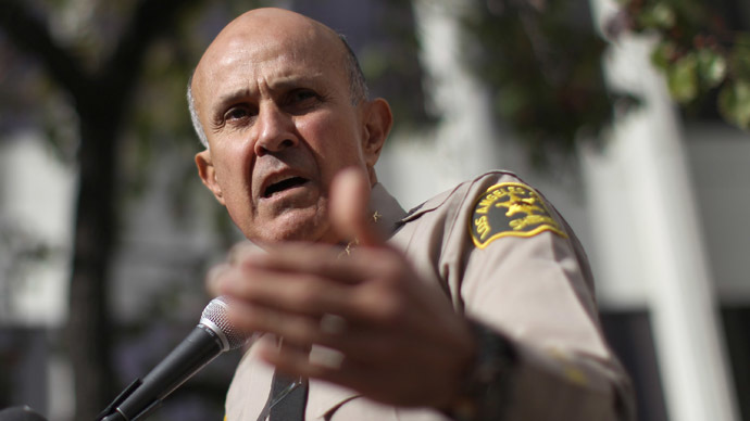 Los Angeles County Sheriff Lee Baca announces his unexpected retirement on January 7, 2014 in Los Angeles, California. (David McNew/Getty Images/AFP)