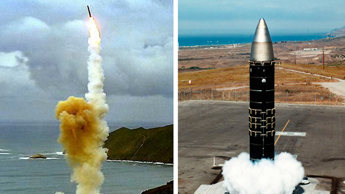 LGM-30G Minuteman intercontinental ballistic missile (ICBM) (L) and the LG-118A Peacekeeper missile(R).(AFP Photo / US DoD)