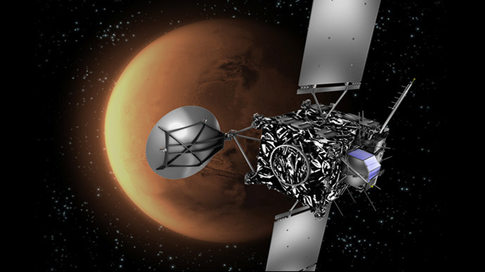 A file handout picture released by the European Space Agency (ESA) shows an artist's impression of the ESA probe Rosetta with Mars in the background. (AFP/ESA)