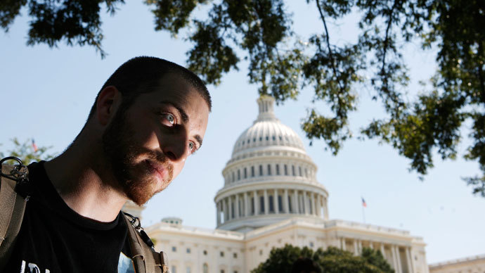 Anti-war protestor Adam Kokesh is seen outside Capitol Hill in Washington.(Reuters / Jim Young)