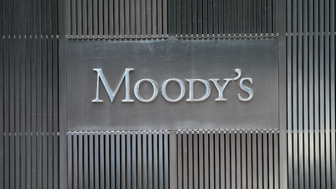 A sign for Moody's rating agency is displayed at the company headquarters in New York (AFP Photo/Emmanuel Dunand)
