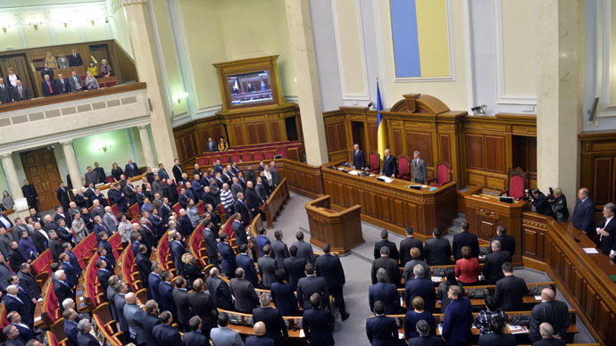 Deputies of the Ukrainian parliament during an extra-ordinary session in Kiev on January 28, 2014.(AFP Photo / Sergei Supinsky)