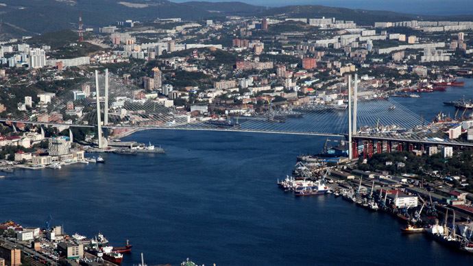 A cable bridge over the Zolotoy Rog Bay in Vladivostok. (RIA Novosti/Vitaliy Ankov)
