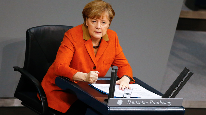 German Chancellor Angela Merkel makes a point during her speech at the German lower house of parliament Bundestag in Berlin January 29, 2014. (Reuters / Tobias Schwarz)