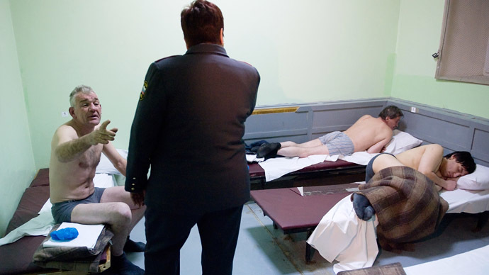 The patients of a medical sobering-up center of the Moscow Region's Khimki police department. (RIA Novosti/Grigoriy Sisoev)