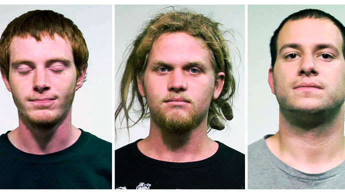 The 'NATO 3': Brian Church (L), Brent Vincent Betterly (C), and Jared Chase are seen in these handout photos from the Chicago Police department released to Reuters May 19, 2012. (Reuters / Chicago Police)