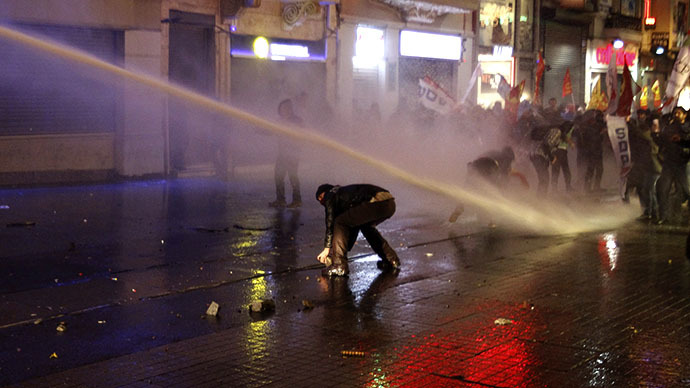 Riot police use water cannons to disperse demonstrators during a protest against internet censorship in Istanbul February 8, 2014. (Reuters / Osman Orsal)