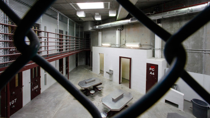 The interior of an unoccupied communal cellblock is seen at Camp VI, a prison used to house detainees at the U.S. Naval Base at Guantanamo Bay (Reuters / Bob Strong)