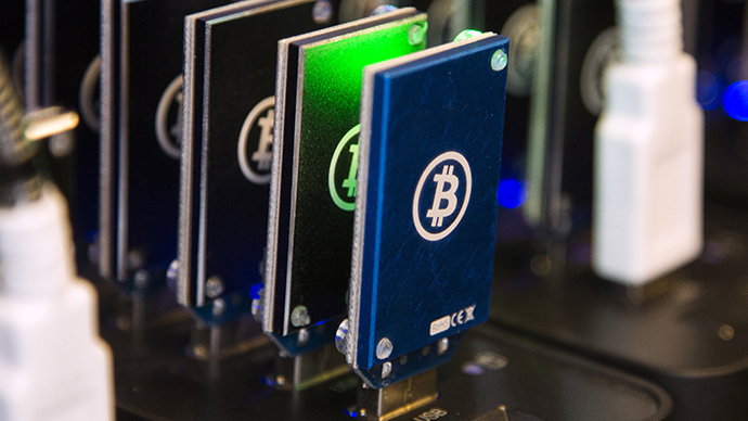 Chain of block erupters used for Bitcoin mining is pictured at the Plug and Play Tech Center in Sunnyvale, California (Reuters / Stephen Lam)