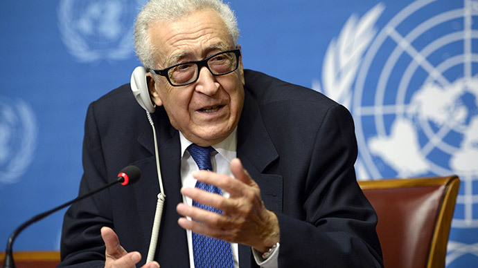 UN mediator Lakhdar Brahimi gestures as he talks during a press conference on the Syrian peace talks at the United Nations headquarters in Geneva on February 15, 2014.  (AFP Photo / Philippe Desmazes)