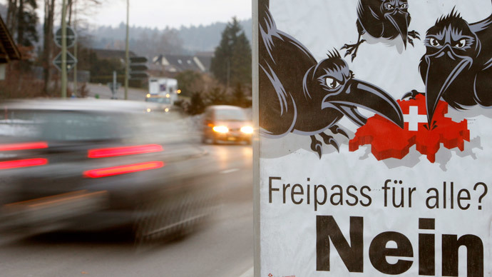 "The posters reads: ""Open access for all? - No!"" by  Swiss People's Party (SVP) (Reuters / Arnd Wiegmann)"