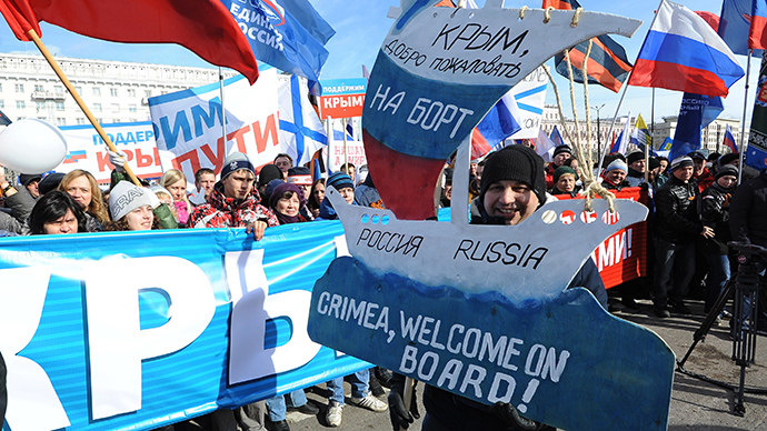 Participants in a rally in Chelyabinsk held to support the population of Ukraine and Crimea (RIA Novosti / Aleksandr Kondratuk)