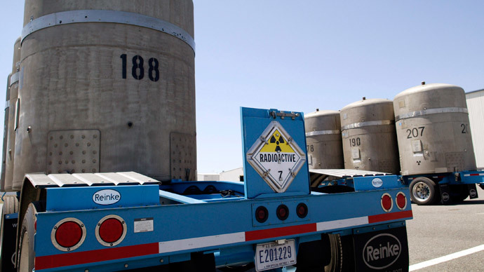 TRUPACT transport containers sit outside the Waste Receiving and Processing facility (WARP) on the Hanford Nuclear Reservation.(AFP Photo / Jeff T. Green)