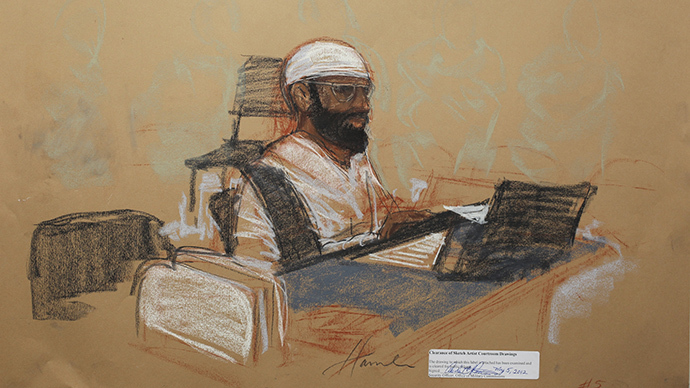 Saudi Mustafa al Hawsawi appears at his arraignment as an accused 9/11 co-conspirator in this courtroom sketch reviewed and approved for release by a U.S. military security official, at Guantanamo Bay Navy Base, Cuba, May 5, 2012. (Reuters / Janet Hamlin)