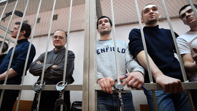 The accused of participating in the mass riots on Bolotnaya Square May 6, 2012 during the hearings at Moscow's Zamoskvoretsky District Court. (RIA Novosti/Ramil Sitdikov)
